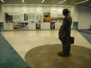 Governor Victor Atiyeh and mural, 2009 Concourse D